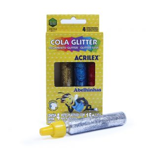 COLA COLORIDA COM GLITTER – 15G – 4 CORES