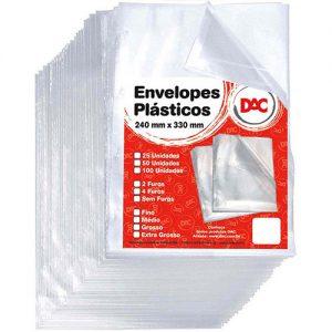 plástico para pasta tamanho ofício c/ 4 furos un