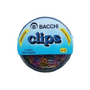 #CLIPS COLORIDO BACCHI Nº 5  CX COM 200 UN.
