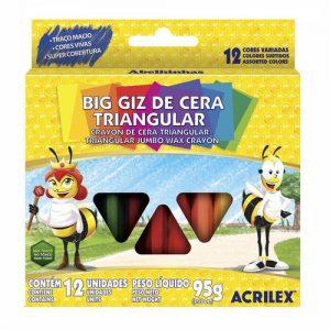 #BIG GIZ DE CERA TRIANGULAR – 12 CORES – 95g ACRILEX