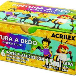 #PINTURA A DEDO CONJ/6 15ML ACRILEX