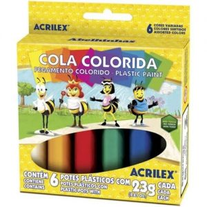 #COLA COLORIDA 6 CORES –  23g – ACRILEX